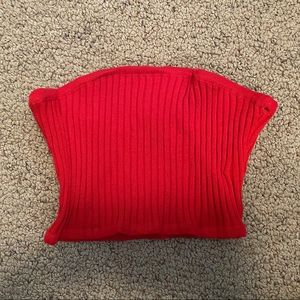 red ribbed tube top